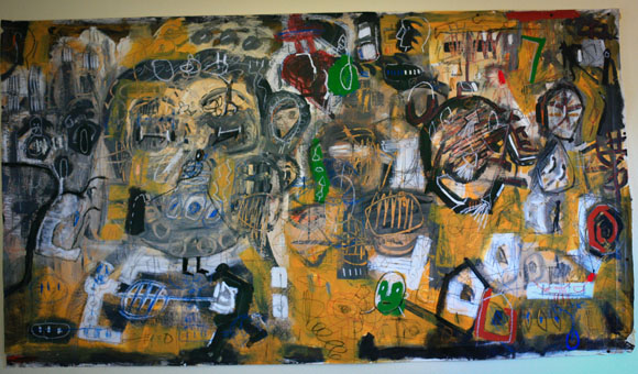 Gronk, Untitled. Mixed media on canvas. Collection of Enrique Serrato