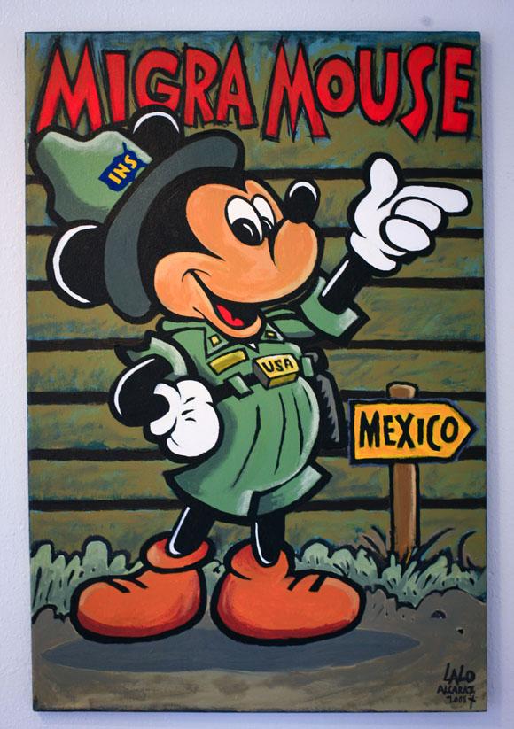 Lalo Alcaraz, Migra Mouse, 2008. Acrylic on canvas. Collection of Enrique Serrato.
