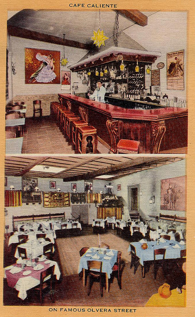 """Cafe Caliente on Famous Olvera Street"" postcard"