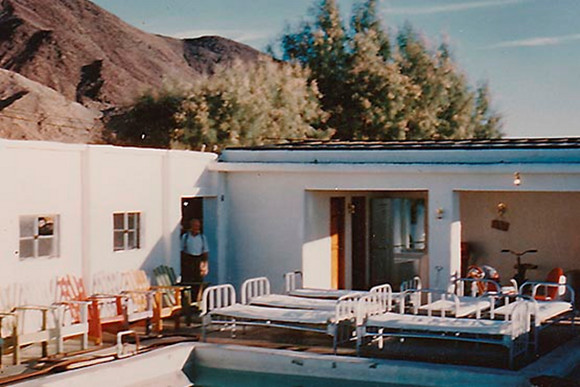 Outdoor cots at Zzyzx Mineral Springs. | Photo: Courtesy of the CSU Desert Studies Center.