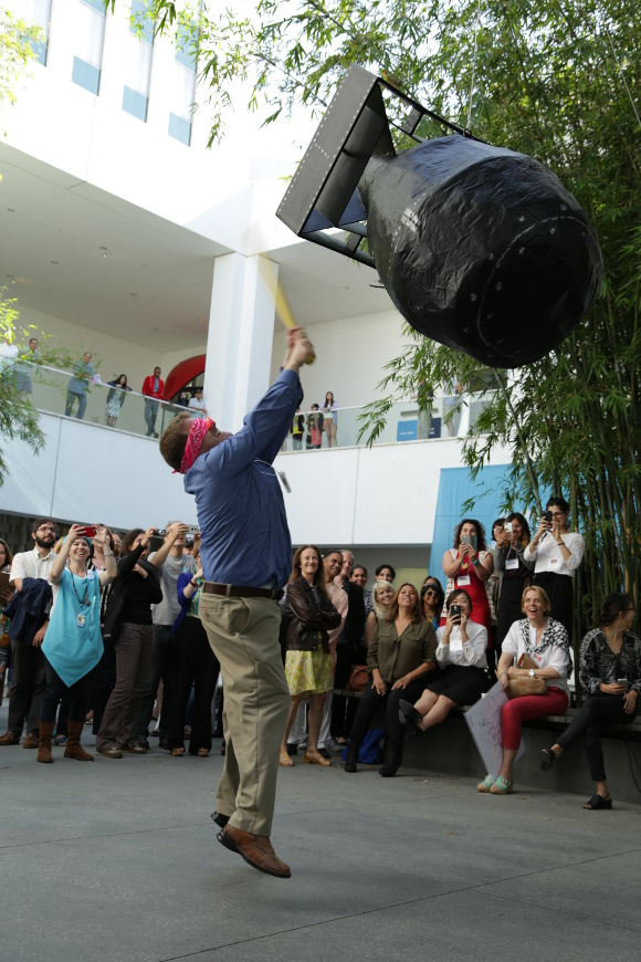 Pedro Reyes, The People's United Nations (pUN), 2015. Event at the Hammer Museum, Los Angeles, May 2-3, 2015. Piñata by Sarah Bay Gachot. | Photo: Lili Soto.