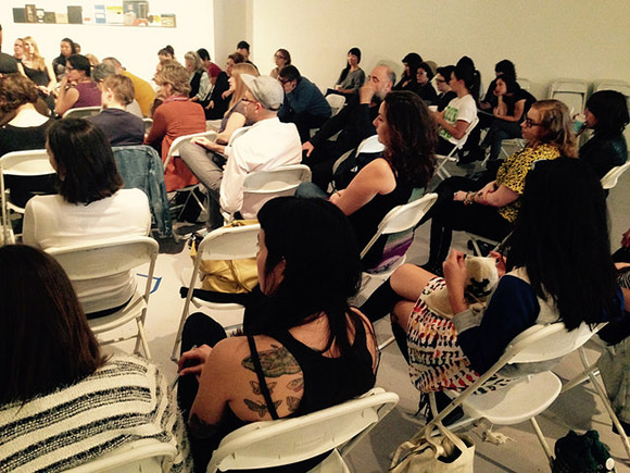 Large group discussion during Pivoting: Ethics And Aesthetics during Chats About Change event at LACE (Los Angeles Contemporary Exhibitions), 1/17/15. | Photograph: Emily Lacy