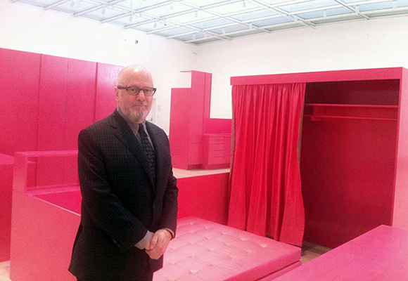 "Stephen Prina with his installation, ""As He Remembered It,"" at the Los Angeles County Museum of Art. Photo: Sharon Mizota."