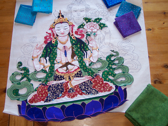 Creating the Image of Chenrezig (Avalokiteshvara, Lord of Compassion), pieced-silk thangka by Leslie Rinchen-Wongmo, 2008.