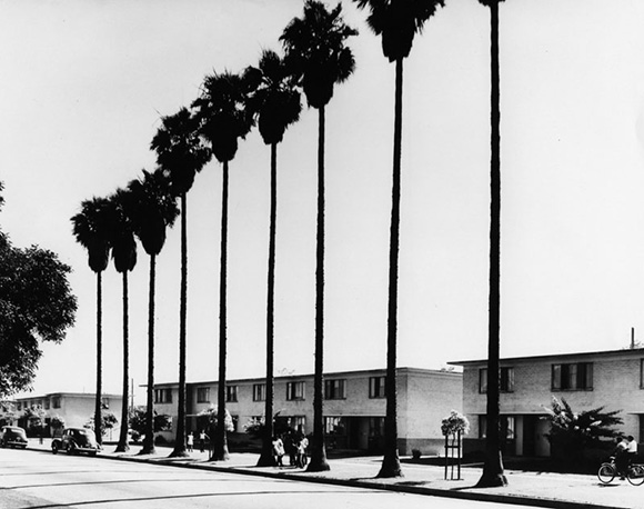 Residents in front of the newly constructed Pueblo Del Rio Housing Project. | Courtesy of the Los Angeles Public Library