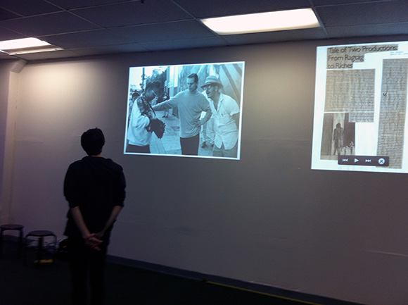 Rob Ochshorn looking at the archive | Courtesy Los Angeles Poverty Department
