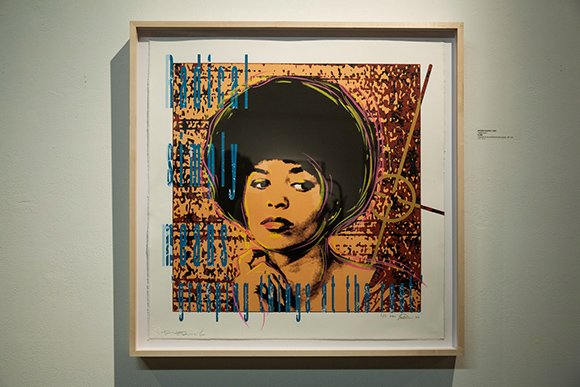 """Angela Davis"" serigraph hand embellished with pastels by Richard Duarto 