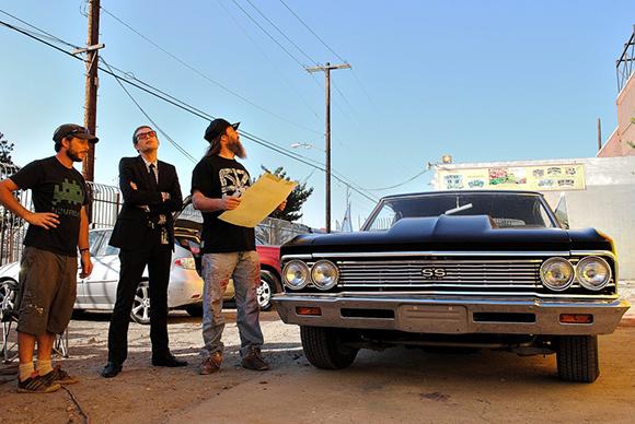 Daniel Lahoda, Tanner Blackman, and RISK at mural wall.   Photo: MOCA.