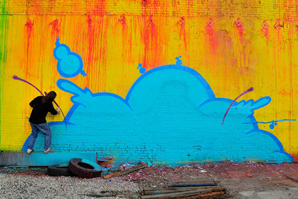 Residents of Skid Row Housing Trust wanted the mural to be bright and uplifting, said Daniel Lahoda.   Photo: MOCA.