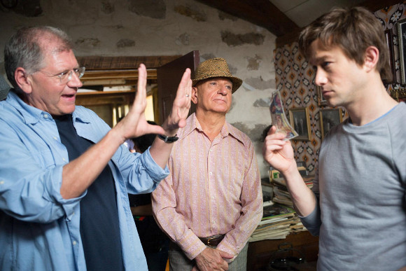 """Director Robert Zemeckis, Ben Kingsley as Papa Rudy, and Joseph Gordon-Levitt as Philippe Petit in """"The Walk."""" 