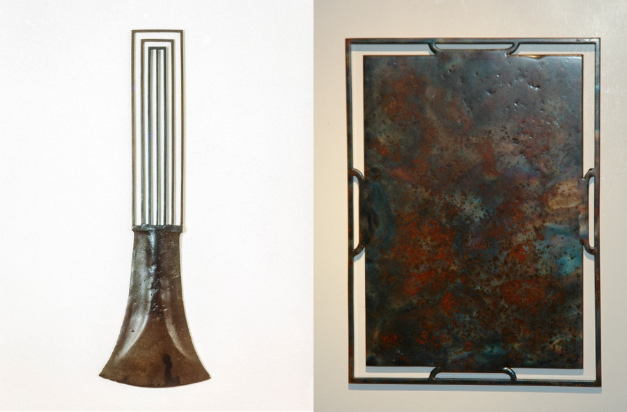 "Left image: ""Hector Vex 201,"" 1990, 24 x 8 inches, steel. / Photo: John Durant. 