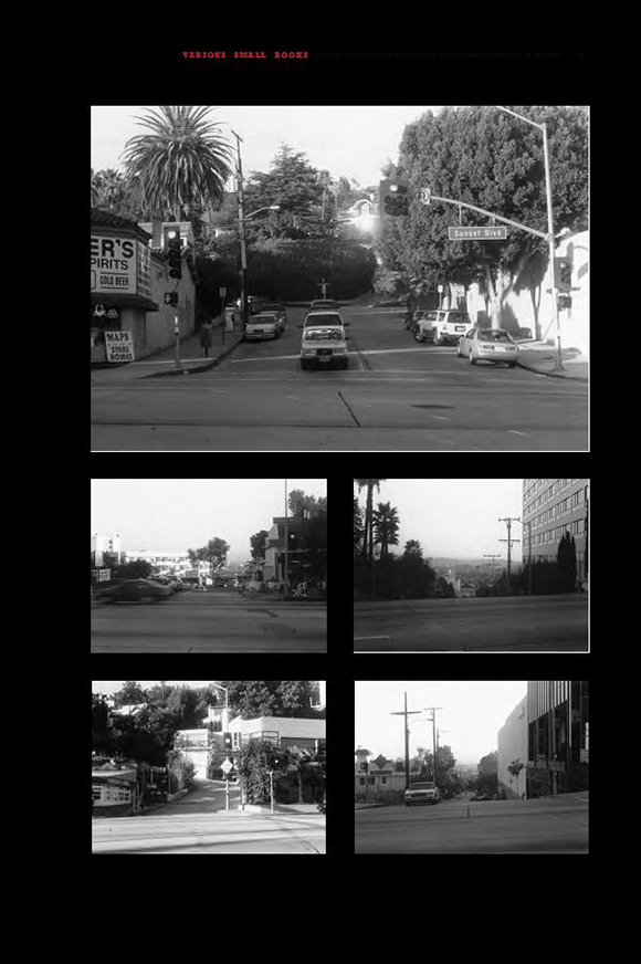 "Sample page from ""Various Small Books,"" MIT Press, 2013 (pictured is Jonathan Monk's 2002, ""None of the Buildings on the Sunset Strip."""
