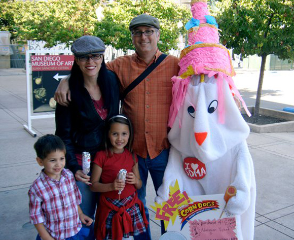 Mascot hands out corndogs and poses with families | Photo: Courtesy of NWMMP.