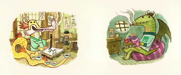 <em>Dragons at Home</em>,  from Scott C.'s 'East Dragon, West Dragon' | Courtesy of Gallery Nucleus.