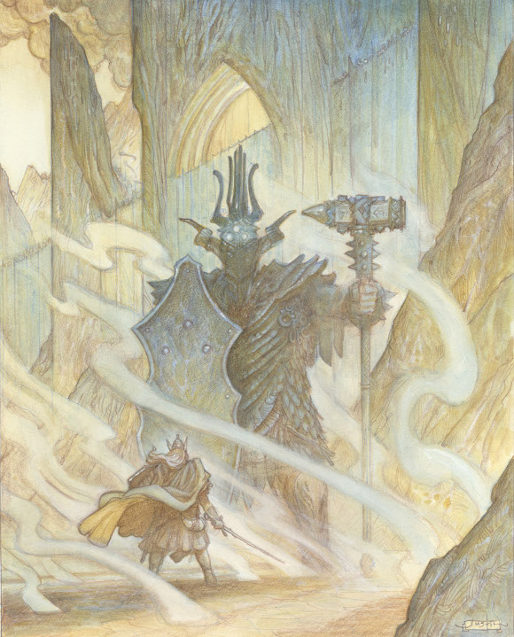 <em>Glaurung and the Dwarf King</em>, from Justin Gerard's 'East Dragon, West Dragon'. Watercolor | Courtesy of Gallery Nucleus.
