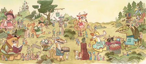 <em>Homecoming Party</em>, from Scott C.'s 'East Dragon, West Dragon' | Courtesy of Gallery Nucleus.