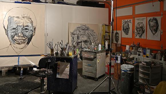 Robbie Conal's studio