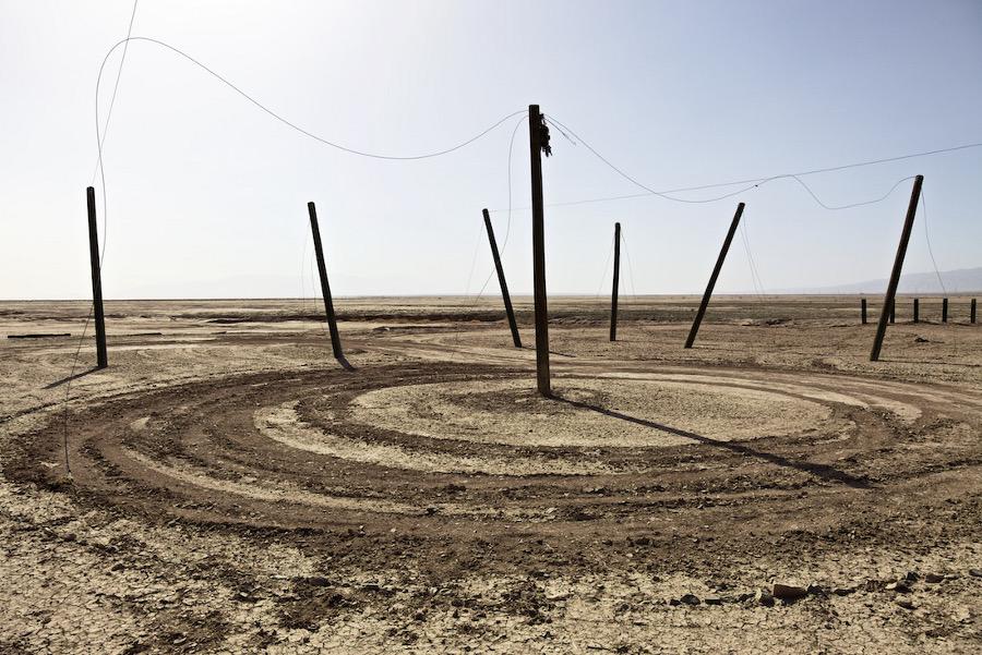 """Dirt Circle with Poles No. 1."" Salton Sea, CA. 2014. | Photo: Osceola Refetoff."
