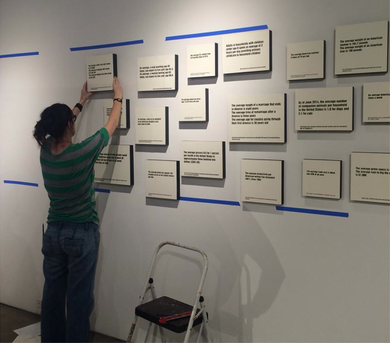 "Nina Preisendorfer, artist in residence, installs for ""(Con)text: Rethinking Language in Art."""