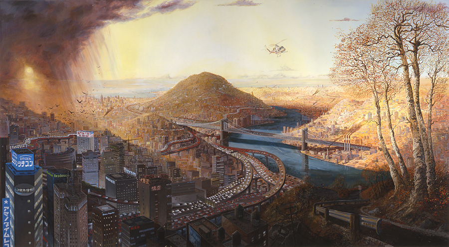 """Sandow Birk, """"Divine Comedy: Paradiso,"""" 2004. Oil and acrylic on canvas. 66 x 120 inches. Courtesy of Catharine Clark Gallery, San Francisco."""