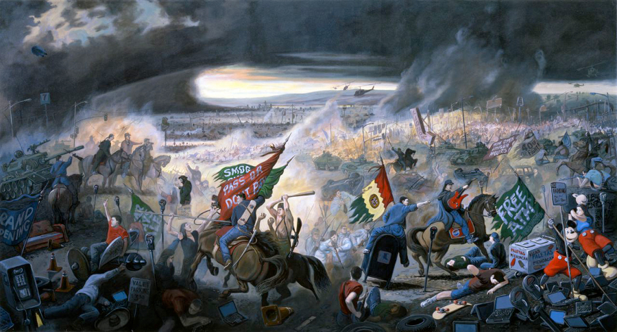 Sandow Birk, &quot;In Smog and Thunder: The Great Battle of Los Angeles,&quot; 1998. Oil on canvas.<br />  64 x 120 inches. Courtesy of Catharine Clark Gallery, San Francisco.