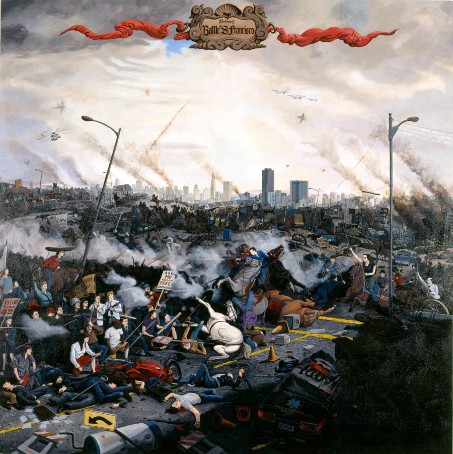 """Sandow Birk, """"In Smog and Thunder: The Battle of San Francisco,"""" 1996. Oil on canvas. 84 x 84 inches. Courtesy of Catharine Clark Gallery, San Francisco."""