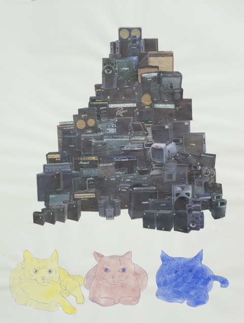 "Scott Marvel Cassidy, ""3 Cats,"" 2005. Watercolor and collage on paper. 18 x 23 inches."