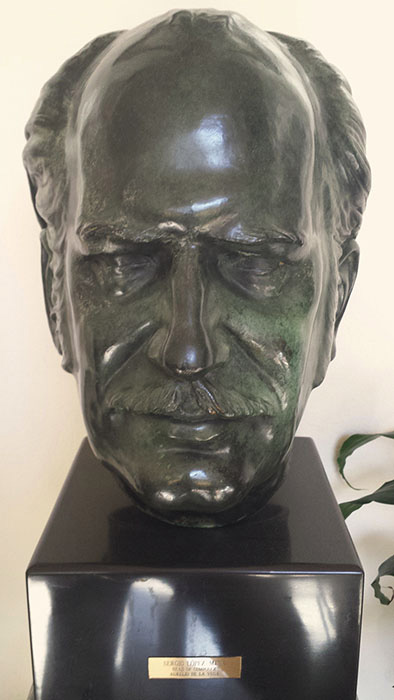 "Sergio López-Mesa's Sculpture of Aurelio de la Vega ""Head of Composer""<br /> Aurelio de la Vega Collection. 