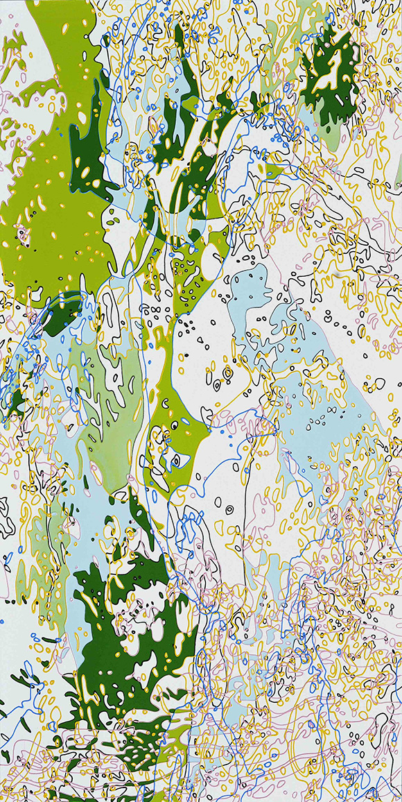 """Spring Snow"" by Xi Hou, 2013, acrylic on canvas, 48 x 24"" 