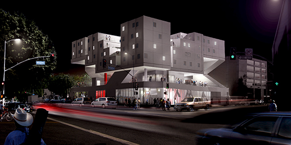 Star Apartments night rendering.