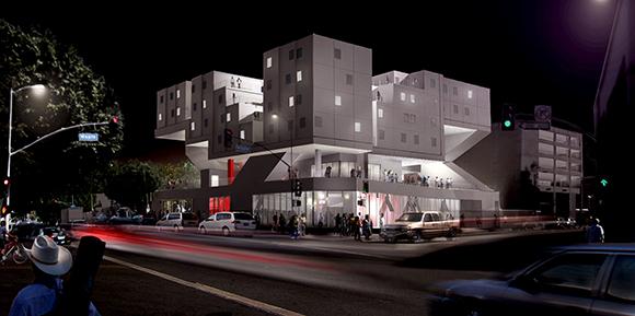 Star Apartments night rendering.