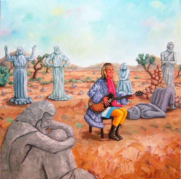 <em>A Friendly World</em>. Oil on canvas, 2011. Pictured is Art Queen proprietor, Shari Elf.