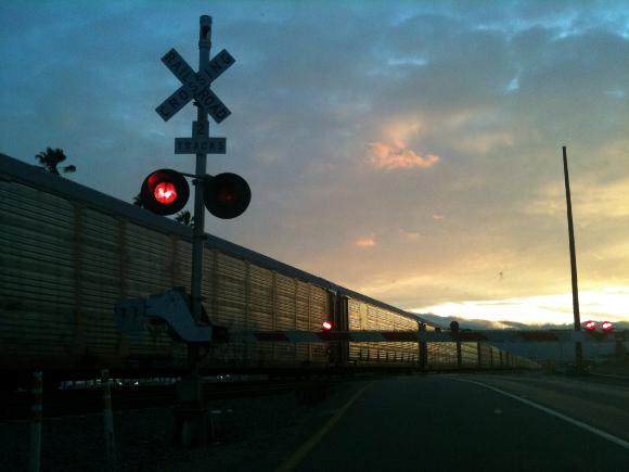 Transport train at dusk in Riverside.
