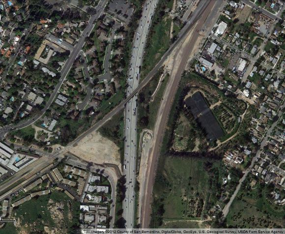 Train tracks dissecting Riverside | Source: Google Maps.