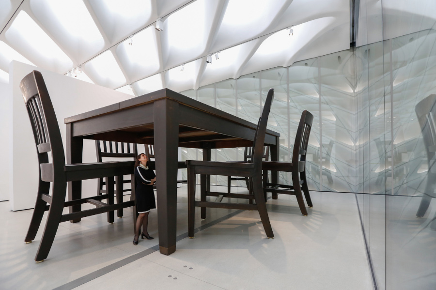 "Installation of Robert Therrien's ""Under the Table,"" 1994 in The Broad's third-floor galleries. 