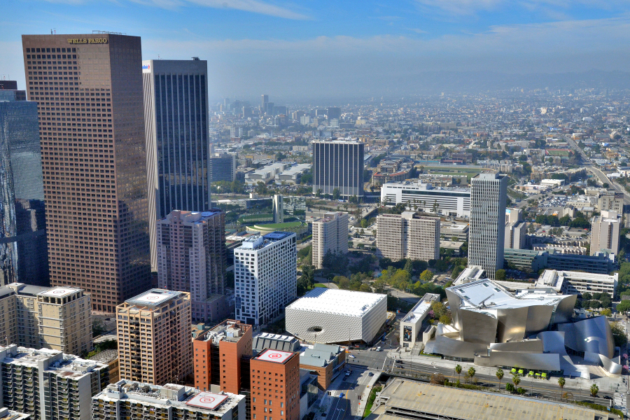 Aerial photo of The Broad in downtown Los Angeles. | Photo: Jeff Duran/Warren Air, courtesy of The Broad and Diller Scofidio + Renfro.