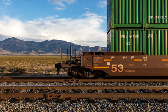 A static freight train near the Kelso Depot in the Mojave National Preserve.   Photo: Kim Stringfellow.