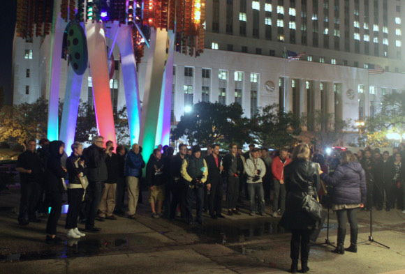 Crowd at the Triforium 40th anniversary event, December 11, 2015. | Photo: Courtesy of the Triforium Project.