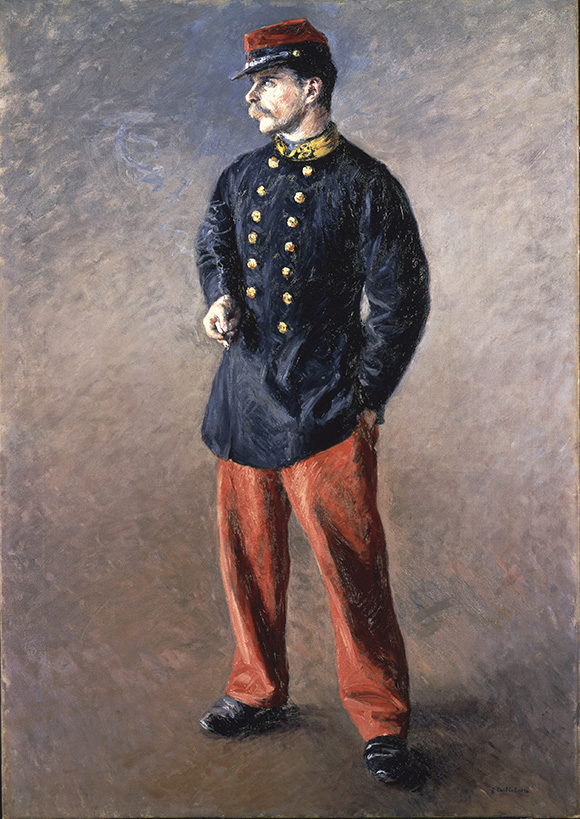 """Gustave Caillebotte, """"Un Soldat,"""" 1881, Oil on canvas, 42x29 1/2in. (106.7x74.9cm)"""