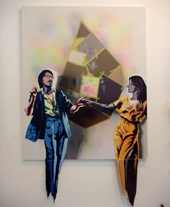 "V&B (Alex Jacobs and Ellemieke Schoenmaker). ""Dancing in the Belly of the Painting,"" 2014. Mixed media on canvas. 66 x 54 in."