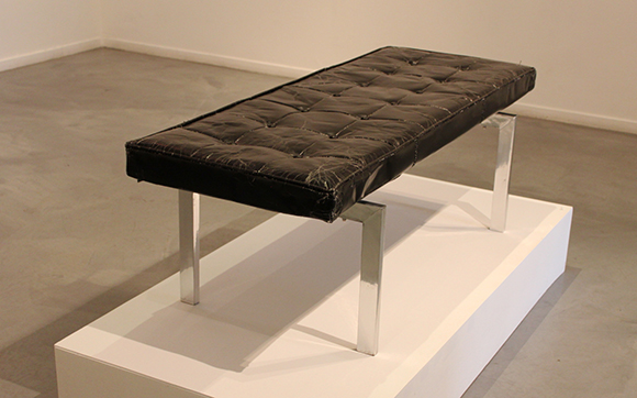 """Museum Bench"" by Vincent Tomczyk, 2013, paper & mixed media, 52 x 20 x 18 inches. 