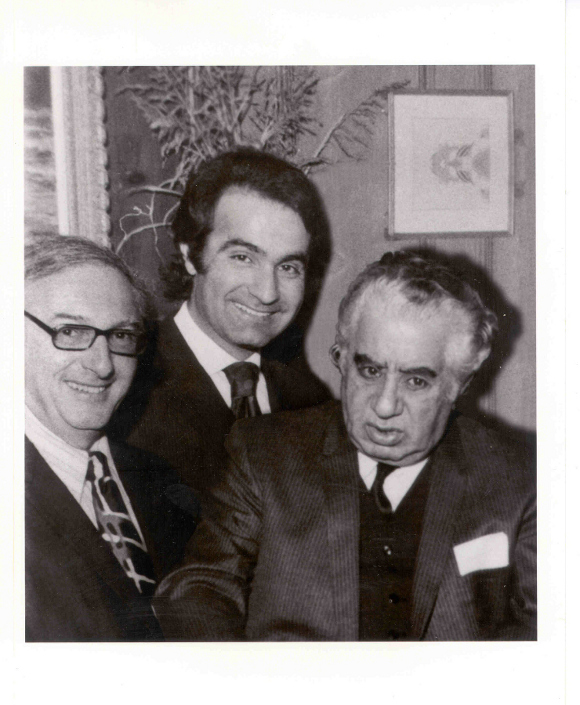 From left, Walter Arlen, conductor Varujan Kojian and composer Aram Kachaturian at a private home in Beverly Hills in 1974.