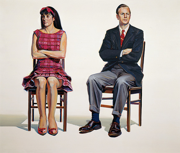 "Wayne Thiebaud, ""Two Seated Figures,"" 1965, oil on canvas, 60 x 72 in. © Wayne Thiebaud / Licensed by VAGA, New York."
