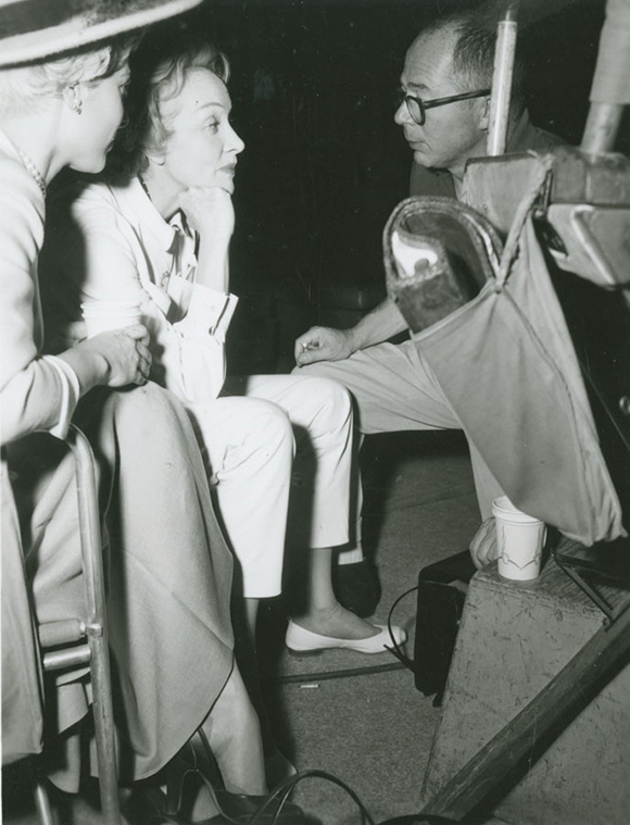 Billy Wilder and Marlene Dietrich, 1957 | Courtesy of the USC Libraries -- Cinematic Arts Collection.