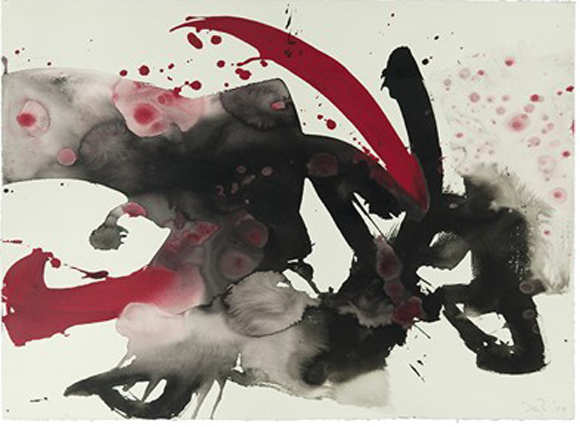 Red Black and Water #1 (2009) by Seyburn Zorthian, sumi and acrylic on paper, 22''x 30''