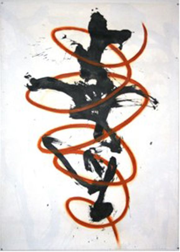 Spiral Dancer (2008) by Seyburn Zorthian, acrylic and oil on gesso'ed paper, 60'' x 43''