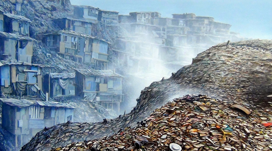 "Jeff Gilette, ""Slum Landfill 7."" Acrylic on canvas. | Image: Courtesy of the artist."