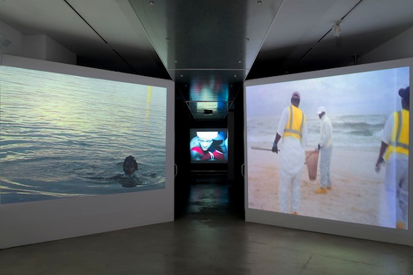 "Installation view of exhibition ""a/wake in the water: Meditations on Disaster,"" curated by Erin Christovale."