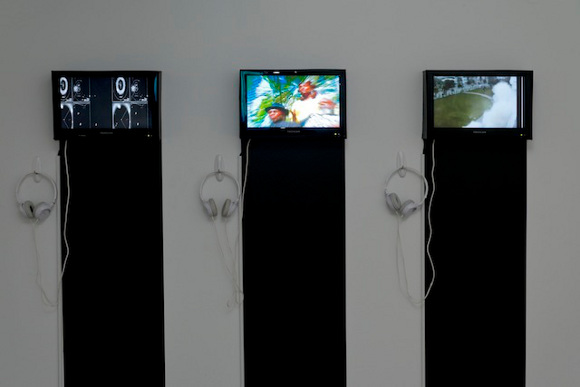 """Installation view of exhibition """"a/wake in the water: Meditations on Disaster,"""" curated by Erin Christovale."""