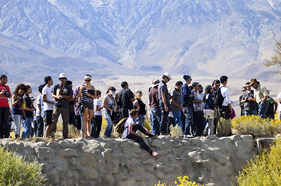 """Aqueduct Futures"" Cal Poly Pomona students at the LA Aqueduct intake in Owens Valley. © Barry Lehrman 2013."